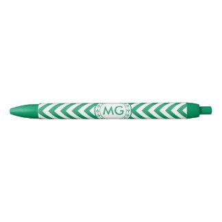 Customized Color Chevron & Hearts Monogram - Green Black Ink Pen