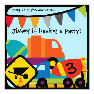 Customized Construction Cement Mixers Birthday 13 Cm X 13 Cm Square Invitation Card