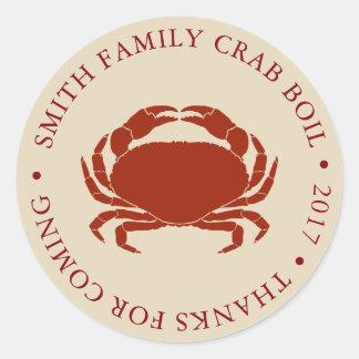 Customized Crab Boil Event Round Sticker