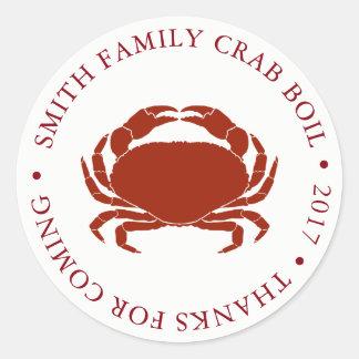 Customized Crab Boil Event White Round Sticker