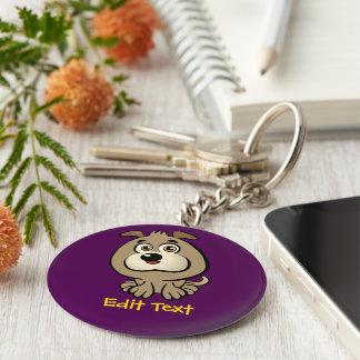 Customized Cute Puppy Cartoon Basic Round Button Key Ring
