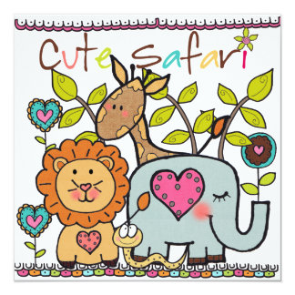 Customized Cute Safari Birthday Invitation