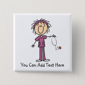 Customized Dark Hair Stick Figure Nurse Button