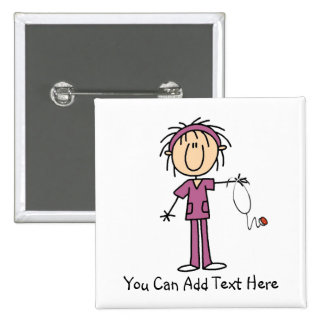 Customized Dark Hair Stick Figure Nurse Button