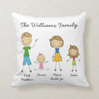 Customized Family Stick Figure Pillow