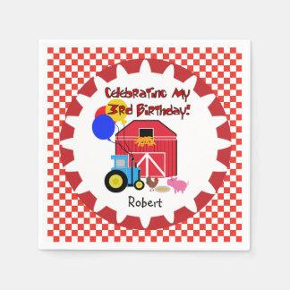 Customized Farm 3rd Birthday Paper Napkins
