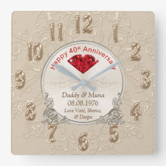 Customized Fortieth Wedding Anniversary Gift CLOCK
