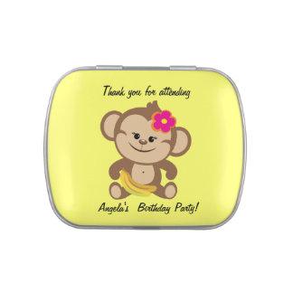 Customized Girl Monkey Birthday Candy Tin