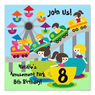 "Customized Girls Amusement Park Birthday Invites 5.25"" Square Invitation Card"