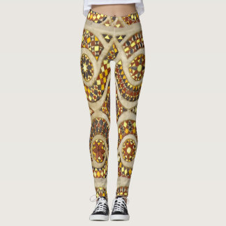 Customized Gold Medieval Mosaic Tiled Pattern Leggings
