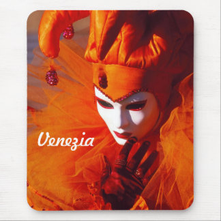 Customized Harlequin In Orange Costume Mouse Pad