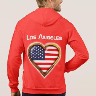 Customized Heart Shaped American Flag Hoodie
