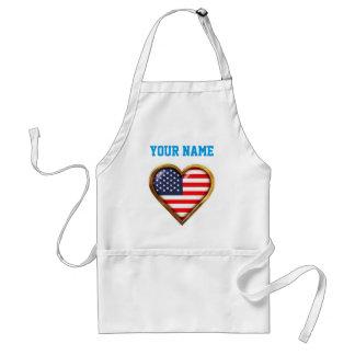 Customized Heart-Shaped American Flag Standard Apron
