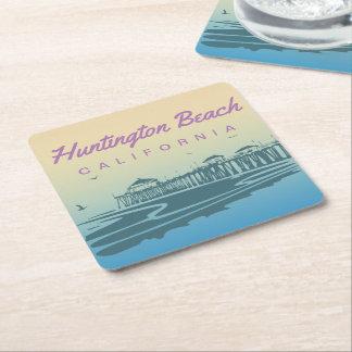 Customized Huntington Beach Pier Illustration Square Paper Coaster