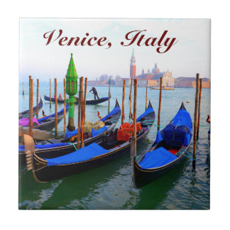 Customized Image of Gondolas in Venice Tile