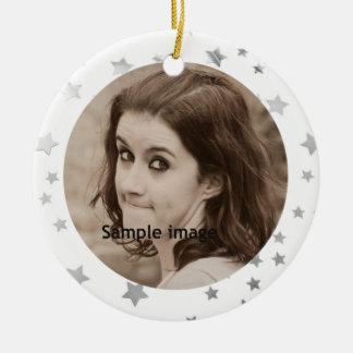 Customized Instagram Photo Glitter Stars Christmas Christmas Ornament