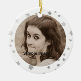 Customized Instagram Photo Glitter Stars Christmas Round Ceramic Decoration