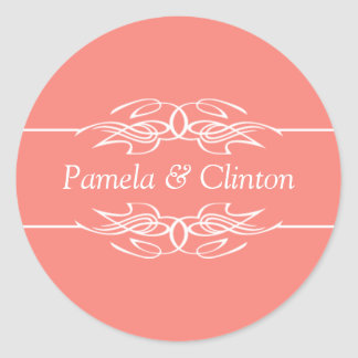 Customized Invitation Coral Pink Round Sticker