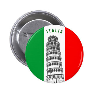 Customized Leaning Tower of Pisa and Italian Flag 6 Cm Round Badge