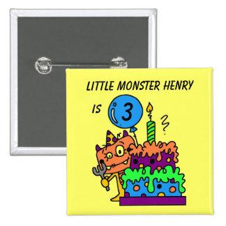 Customized Little Monster Birthday Button