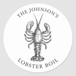 Customized Lobster Bake Event White Classic Round Sticker