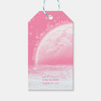 Customized Love You To The Moon & Back Pink Girl Gift Tags
