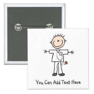 Customized Male Stick Figure Nurse Button
