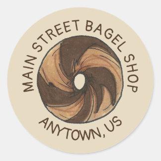 Customized Marble Rye Bagel Shop Foodie Breakfast Classic Round Sticker