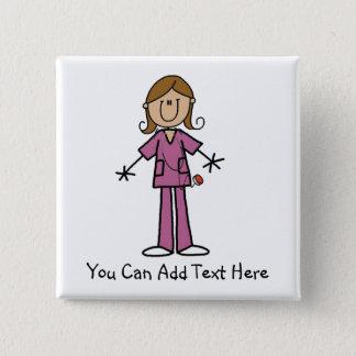 Customized Medium  Skin Stick Figure Nurse Button