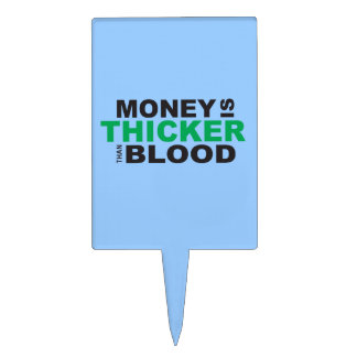 Customized Money is Thicker Than Blood Plates Cake Toppers