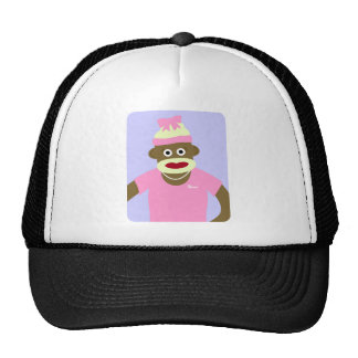 Customized Name or Monogram Sock Monkey Girl Cap