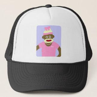 Customized Name or Monogram Sock Monkey Girl Trucker Hat
