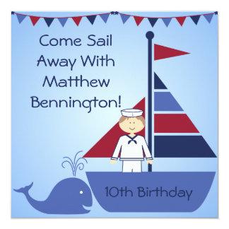 "Customized Nautical Birthday Invites 5.25"" Square Invitation Card"