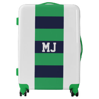 Customized Navy Blue Green Stripes Luggage