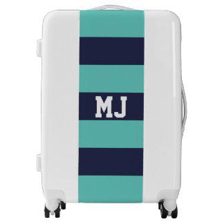 Customized Navy Blue Turquoise Stripes Luggage