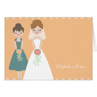 Customized Orange-Teal Be My Bridesmaid Cards