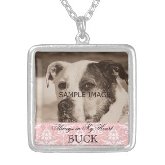 Customized Pet Memorial Photo Keepsake Pink Damask Silver Plated Necklace