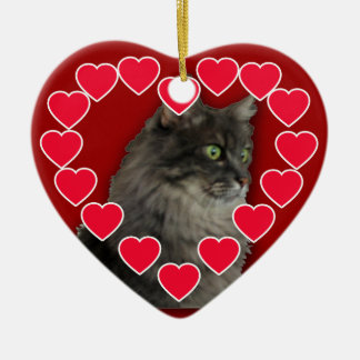 Customized Pet Photo with Hearts Ornament
