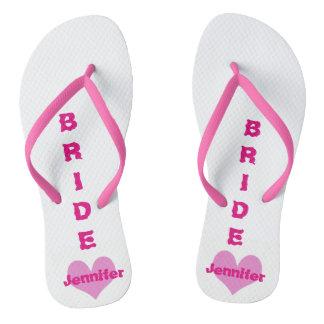 Customized Pink Heart Bride Flip Flops