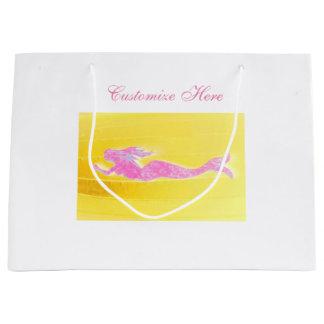customized pink swimming mermaid large gift bag