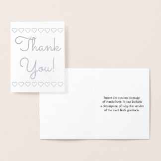 "Customized, Plain ""Thank You!"" + Heart Shapes Card"