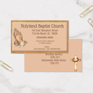 Customized  Praying Hands Church Business Cards