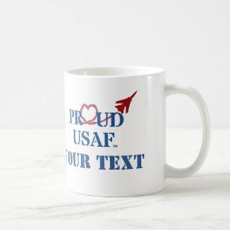 Customized Proud USAF - Jet with Heart Vapor Basic White Mug