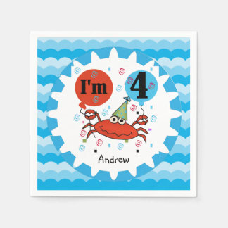 Customized Red Crab 4th Birthday Paper Napkins
