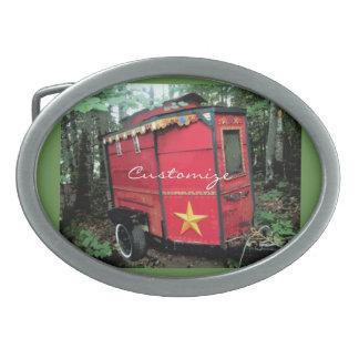 Customized Red Gypsy tiny caravan Oval Belt Buckle