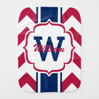 Customized Red White and Blue Chevron Print Burp Cloth