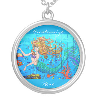 customized redheaded mermaid silver plated necklace