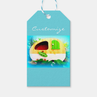 Customized Retro Vintage camper pattern blue Gift Tags