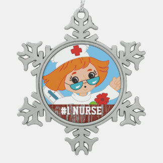Customized RN Registered Nurse #1 Best Nurse Gift Snowflake Pewter Christmas Ornament