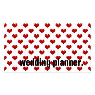 Customized Romantic Red Hearts Wedding Planner Pack Of Standard Business Cards